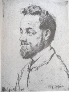 "<b>O PROFESSOR</b>, 1913<br>água-forte, 11,5 x 9 cm<br>ass. na placa: ""Malfatti 13"""