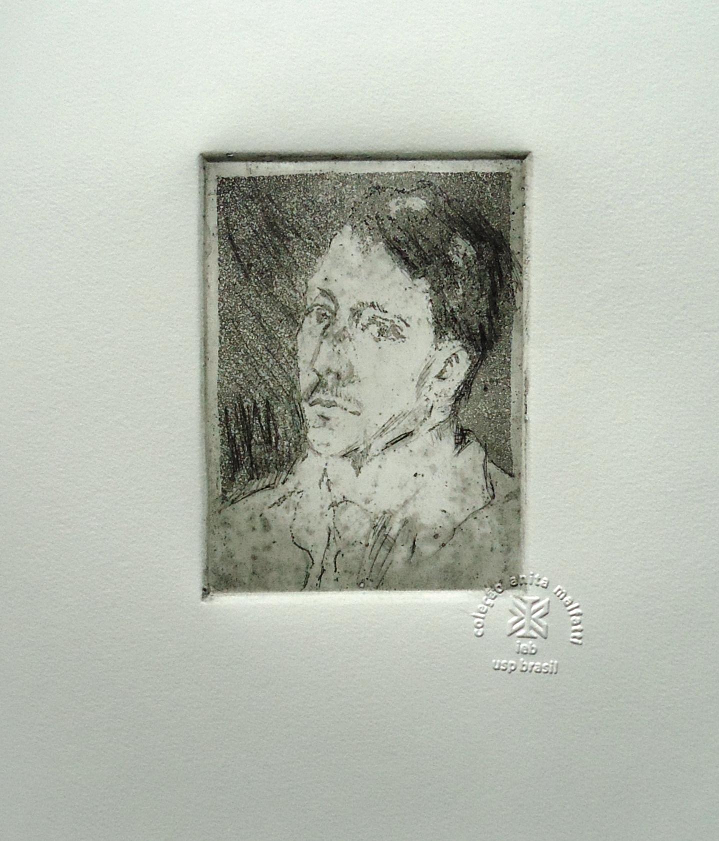 <b>UM COLEGA</b>, 1911/13<br>água-forte e água-tinta, 12 x 9 cm<br>tiragem póstuma<br>IEB-USP